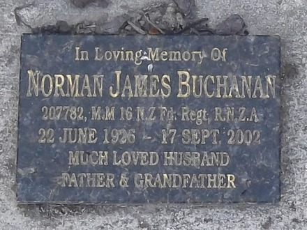 Headstone of x Norman James BUCHANAN 207782. Andersons Bay General Cemetery, Dunedin City Council, Block J1117. Image kindly provided by Allan Steel CC-BY 4.0.