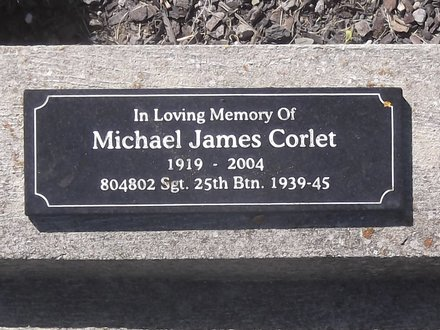 Headstone of Sgt Michael James CORLET 804802. Andersons Bay General Cemetery, Dunedin City Council, Block P1, Plot 72. Image kindly provided by Allan Steel CC-BY 4.0.