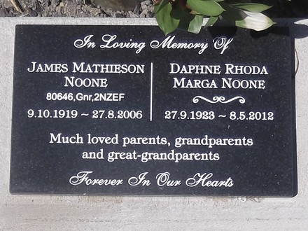 Headstone of Gnr James Mathieson NOONE 80646. Andersons Bay General Cemetery, Dunedin City Council, Block R1, Plot 57. Image kindly provided by Allan Steel CC-BY 4.0.