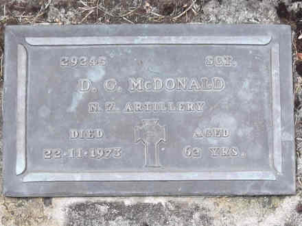 Headstone of Sgt Donald George McDONALD 29245. Andersons Bay RSA Cemetery, Dunedin City Council, Block 12A, Plot 62. Image kindly provided by Allan Steel CC-BY 4.0.