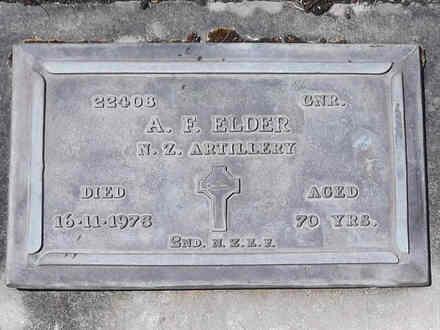 Headstone of Gnr Alexander Ferguson ELDER 22408. Andersons Bay RSA Cemetery, Dunedin City Council, Block 14A, Plot 50. Image kindly provided by Allan Steel CC-BY 4.0.