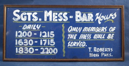 Sergeant's Mess Bar autographed sign, Narrow Neck Officer's Training Camp WW2 [2007.34.1] front view