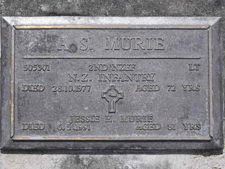 Headstone of Lieut Alexander Sinclair MURIE 505301. Andersons Bay RSA Cemetery, Dunedin City Council, Block 18A, Plot 3. Image kindly provided by Allan Steel CC-BY 4.0.
