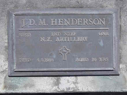 Headstone of Gnr John Dorian Monro HENDERSON 65953. Andersons Bay RSA Cemetery, Dunedin City Council, Block 21A, Plot 4. Image kindly provided by Allan Steel CC-BY 4.0.