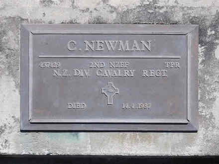 Headstone of Tpr Colin NEWMAN 457429. Andersons Bay RSA Cemetery, Dunedin City Council, Block 21A50. Image kindly provided by Allan Steel CC-BY 4.0.
