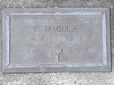 Headstone of Pte Lawrence MAGUIRE. Andersons Bay RSA Cemetery, Dunedin City Council, Block 11A, Plot 11. Image kindly provided by Allan Steel, CC-BY-4.0.