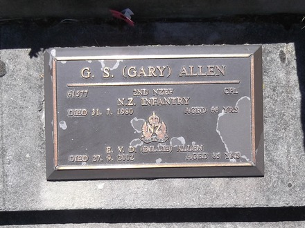 Headstone of Cpl Garfield Allen 61577. Andersons Bay RSA Cemetery, Dunedin City Council Block 5A, Plot 3. Image kindly provided by Allan Steel CC-BY 4.0.