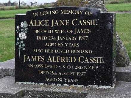 Headstone of Dvr James Alfred Cassie RN9955. Waikouaiti/Hawkesbury Cemetery, Dunedin City Council Block 13, Plot 23. Image kindly provided by Allan Steel CC-BY 4.0.