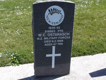 Headstone of Pte William Cornelius Ostarasch 18663. Andersons Bay RSA Cemetery, Dunedin City Council Block 70AS, Plot 8. Image kindly provided by Allan Steel CC-BY 4.0.