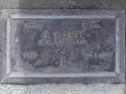 Headstone of L/Bdr John Telford Burt 61230. Andersons Bay RSA Cemetery, Dunedin City Council Block 15A, Plot 9. Image kindly provided by Allan Steel CC-BY 4.0.