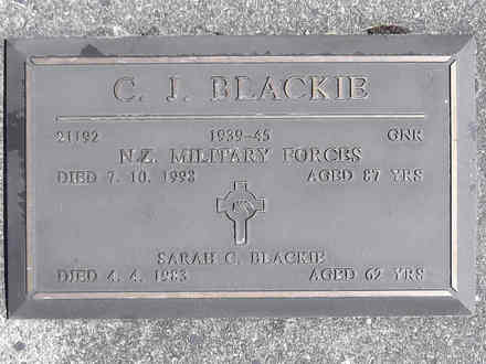 Headstone of Gnr Carl Joseph Blackie 21192. Greenpark RSA Cemetery, Dunedin City Council Block 3A, Plot 30. Image kindly provided by Allan Steel CC-BY 4.0.