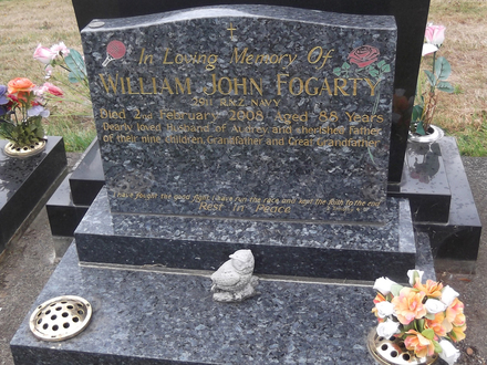 Headstone of x William John Fogarty 2911. Greenpark General Cemetery, Dunedin City Council Block 83A, Plot 36. Image kindly provided by Allan Steel CC-BY 4.0.