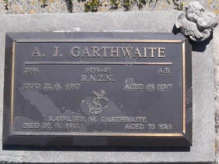 Headstone of A B Allan Joseph Garthwaite 2996. Andersons Bay RSA Cemetery, Dunedin City Council Block 17SC, Plot 12. Image kindly provided by Allan Steel CC-BY 4.0.
