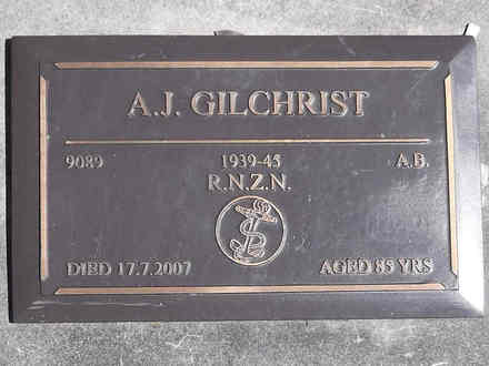 Headstone of AB Alexander John Gilchrist 9089. Greenpark RSA Cemetery, Dunedin City Council Block 1A, Plot 313. Image kindly provided by Allan Steel CC-BY 4.0.