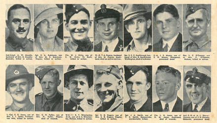 Roll of Honour Portraits, from Left to Right: Second Lieutenant A. W. Moodie; Sgt E. A. Robinson; Pte. W. J. Kitto; Warrant Officer T.A. Pearse; Spr. S.C.C. Southwood; Engine Artificer. J. E. Moore; Gnr. L. C. O'Connor; L. Cpl. E. G. Jones; Gnr C. H. Fuller; W.O. R. T. Winstanley; Spr R. D. Rogers; Sgt. J. A. Smith; L. H. Jones; Act. E.-R-A. A. J. Heeny. New Zealand Free Lance, August 12, 1942. p. 26. Image kindly provided by Lewis Solomon (January 2021).