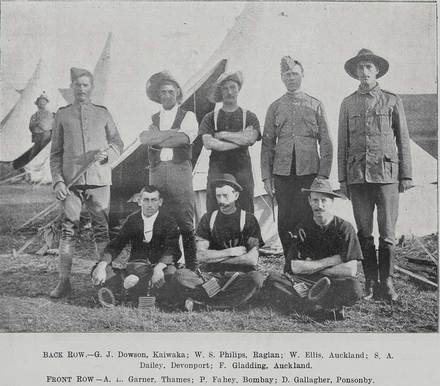 Group portrait of soldiers-Back Row.-G.J. Dowson [Dawson], Kaiwaka; W.S. Philips, Raglan; W. Ellis, Auckland; S.A. Dailey, Devonport; F. Gladding, Auckland. Front Row.- A.E. Garner; Thames; P. Fahey, Bombay; D. Gallagher [D Gallaher], Auckland. Taken from the supplement to the Auckland Weekly News 25 JANUARY 1901 p007. Auckland Libraries Heritage Collections AWNS-19010125-7-2.