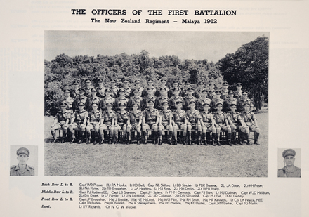 THE OFFICERS OF THE FIRST BATTALION. The New Zealand Regiment — Malaya 1962. Back Row L to R: Capt WD Prouse, 2Lt RA Monks, Lt KD Bell, Capt NL Skilton, Lt BD Sinclair, Lt PDR Browne, 2Lt JA Dixon, 2Lt KH Fraser, 2Lt NA Kotua, 2Lt TD Brosnahan, Lt J A Hawkins, Lt MJ Ross, 2Lt MH Devlin, 2Lt WPB Brady. Middle Row L to R: Capt PJ Rodgers ED, Capt LB Shannon, Capt JM Spiers, Fr PMM Carmody, Capt PJ Burtt, Lt MJ Dudman, Capt WJD Meldrum, 2Lt DA Dawe, Lt LF Partner, Lt JW Litchfield, 2Lt JD Collinson, 2Lt DB Slocombe, Capt MJ Hall, Lt AL Gadsby. Front Row L. to R: Capt JP Brosnahan, Maj J Brooke, Maj NE McLeod, Maj WG Pike, Maj RH Smith, Maj MR Kennedy, Lt Col LA Pearce, MBE, Capt TB Butson, Maj IB Bennett, Maj R Stanley-Harris, Maj RH Manson, Maj KE Ussher, Capt JRM Barker, Capt TG Martin. Inset. Lt RV Richards, Ch IV CI W Vercoe.Image kindly provided by Bill Russell, Vice President of the Malayan Veterans Association (December 2020).