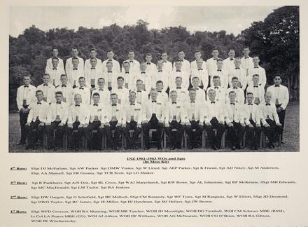 1NZ 1961-1963 WOs and Sgts (In Mess Kit). 4th Row: SSgt DJ McFarlane, Sgt AW Packer, Sgt DMW Vinten, Sgt W Lloyd, Sgt AEP Parker, Sgt K Friend, Sgt AD Nixey, Sgt M Anderson, SSgt AA Mansell, Sgt ER Gosney, Sgt TCR Scott, Sgt EG Shuker. 3rd Row: Sgt R Pankhurst, Sgt AJS Don, Sgt RE Cross, Sgt WAJ Marychurch, Sgt RW Rowe, Sgt AL Johnstone, Sgt RF McKenzie, SSgt MH Edwards, Sgt MC MacDonald, Sgt LM Taylor, Sgt RA Jenkins. 2nd Row: SSgt DW Gargett, Sgt G Schofield, Sgt BE Malloch, SSgt CM Kennedy, Sgt WF Tyms, Sgt M Rangiuia, Sgt W Elliott, SSgt JD Desmond, Sgt DWG Taylor, Sgt RC James, Sgt JE Millar, Sgt HJ Hyndman, Sgt MJ Hellyer, Sgt JW Brown. 1st Row: SSgt WFD Croxson, WOII RA Manning, WOU MR Taucher, WOII JH Moonlight, WOII DG Turnbull, WOI CM Schwass MBE (RSM), Lt Col LA Pearce MBE (CO), WOI AJ Aitken, WOII DF Williams, WOII AG McNearnie, WOII CG O'Brien, WOII RA Gibson, WOII PE Wischnowsky. Image kindly provided by Bill Russell, Vice President of the Malayan Veterans Association (December 2020).