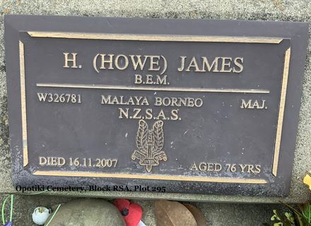Gravestone of Major Hauaru James, Opotiki Cemetery, Opotiki, Bay of Plenty. Image courtesy of Carol Foster (2021).