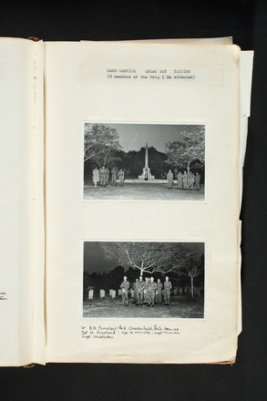 """Dawn Service Anzac Day Taiping (8 Members of the Orig I Bn attended). Lt BD Sinclair, Pt K Chesterfield, Pte G. Howse, Sgt G Schofield, Cpl S. Christie, Lcpl Tinerau, Lcpl Middleton."" 1st Battalion, New Zealand Regiment - Scrapbook regarding Terendak Camp, Malacca, Malaya, 1961 - 1963. Auckland War Memorial Museum Library. MS-2010-26-207."