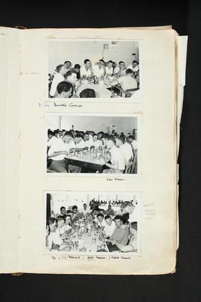 """D Company Group. Ken Hudson. Stan Mackie, Ross Hardy, Crete Haami."" 1st Battalion, New Zealand Regiment - Scrapbook regarding Terendak Camp, Malacca, Malaya, 1961 - 1963. Auckland War Memorial Museum Library. MS-2010-26-154."