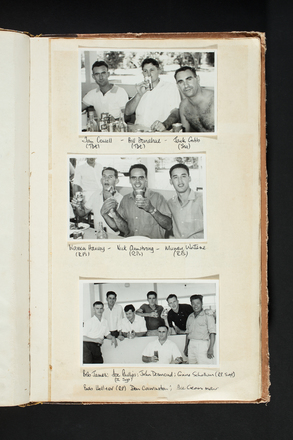 """Ian Cowell (Tbt), Bill Donahue (Tbt), Jack Gibb (Sig), Warren Harvey (RPs), Nick Armstrong (RPs), Murray Watene (RPs), Bob James, Joe Phillips (I Sgt), John Desmond, Gary Schollum (RP Sat)."" 1st Battalion, New Zealand Regiment - Scrapbook regarding Terendak Camp, Malacca, Malaya, 1961 - 1963. Auckland War Memorial Museum Library. MS-2010-26-278."