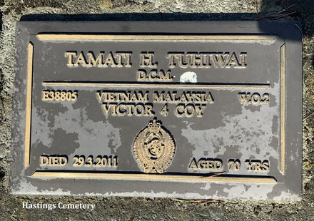 Gravestone of Warrant Officer Tamati Henare Tuhiwai, Hastings Cemetery and Crematorium, Hastings, Hawke's Bay. Image kindly provided by Carol Foster (2021).