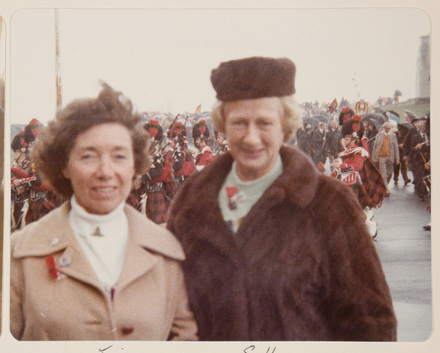 Tina Smeeton, President of the Returned Army Nursing Association and Sally Callander attend an Anzac Ceremony in 1979. Auckland Museum, PH-ALB-398-p24-5.