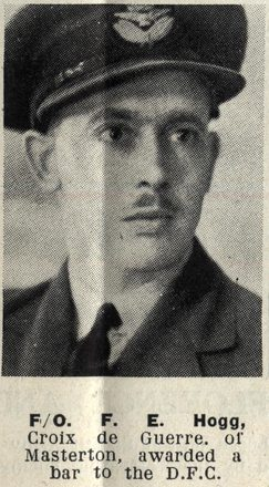 F/O. F. E. Hogg, Croix de Guerre of Masterton, awarded a bar to the D.F.C. Image kindly provided by Auckland Libraries Heritage Collections AWNS-19440913-24-47.
