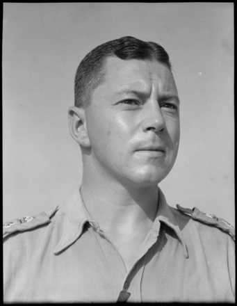 Portrait of Lieutenant Colonel Monty Claude Fairbrother. Photograph taken at Maadi, Egypt, in August 1943 by George Robert Bull. Alexander Turnbull Library Ref: DA-04421-F.