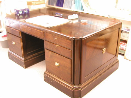 desk, pedestal
