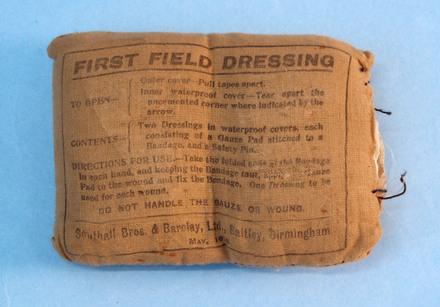 First Field Dressing - front view [2007.55.2] Rfln W M Smallfield, 3 Bn, NZRB, WW1