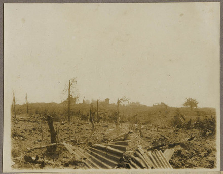 Shells bursting on the ruins of Messines.