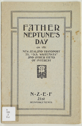 "Father Neptune's day on the New Zealand Transport 75, ""S.S. Waitemata"" and other items of interest"