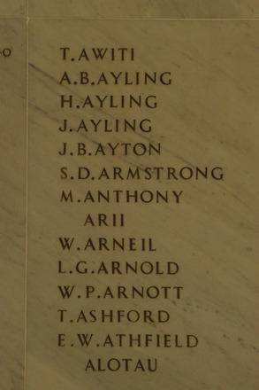Auckland War Memorial Museum, World War 1 Hall of Memories Panel Awiti T. - Alotau (photo J Halpin 2010) - No known copyright restrictions