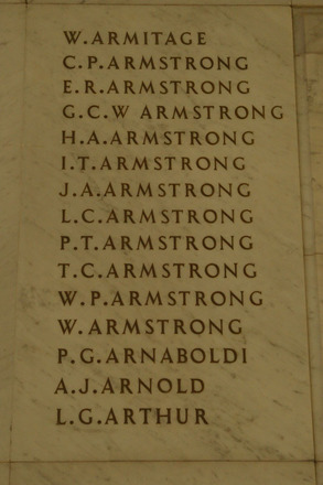 Auckland War Memorial Museum, World War 1 Hall of Memories Panel Armitage W. - Arthur L.G. (photo J Halpin 2010) - No known copyright restrictions