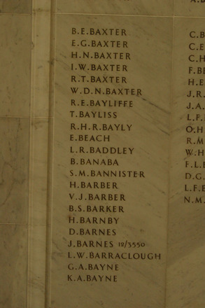 Auckland War Memorial Museum, World War 1 Hall of Memories Panel Baxter B.E. - Bayne K.A. (photo J Halpin 2010) - No known copyright restrictions