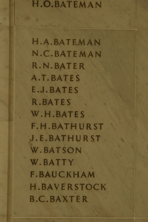 Auckland War Memorial Museum, World War 1 Hall of Memories Panel Bateman H.A. - Baxter B.C. (photo J Halpin 2010) - No known copyright restrictions