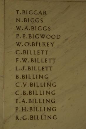 Auckland War Memorial Museum, World War 1 Hall of Memories Panel Biggar T. - Billing R.G. (photo J Halpin 2010) - No known copyright restrictions