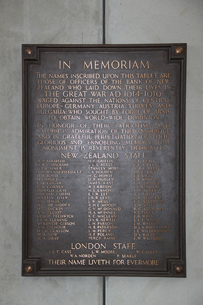 Memorial Plaque, Bank of New Zealand Arcade, Wellington (Photo Paul Hickford, 2014) - No known copyright restrictions