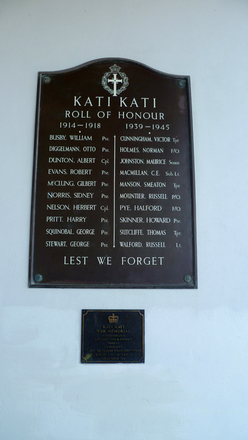 Roll of Honour, Katikati War Memorial Hall (photo G.A. Fortune, March 2013) - Image has All Rights Reserved