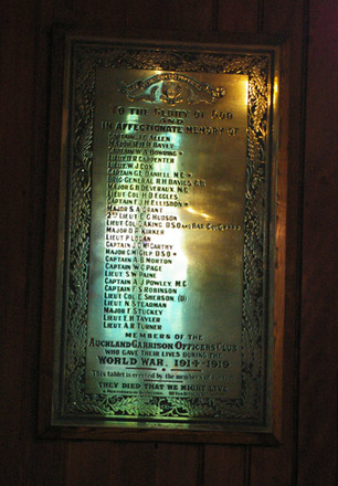 Memorial plaque, Auckland Garrison Officers Club, St Mary's Church (photo John Halpin November 2011) - CC BY John Halpin - CC BY John Halpin