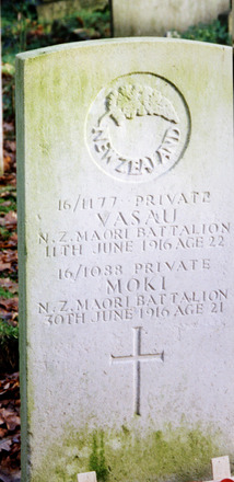 Headstone, St Andrew's, Hornchurch. The shared headstone of Privates Vasau and Moki in the churchyard (Image courtesy of Brian Taylor, Brentwood, Essex, UK) - No known copyright restrictions
