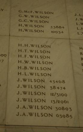 Auckland War Memorial Museum, World War 1 Hall of Memories Panel Wilson, G.McF. - Wilson, J.A. (photo J Halpin 2010) - No known copyright restrictions