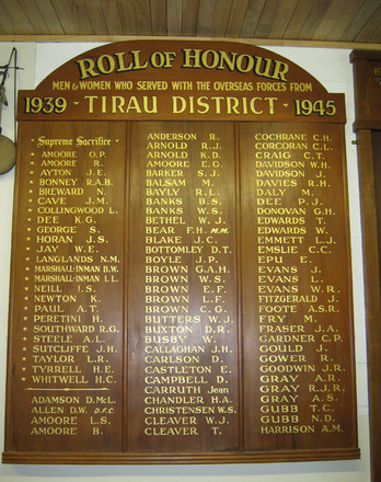 Tirau District 1939 - 1945 Roll of Honour held by the Tirau Museum - This image may be subject to copyright