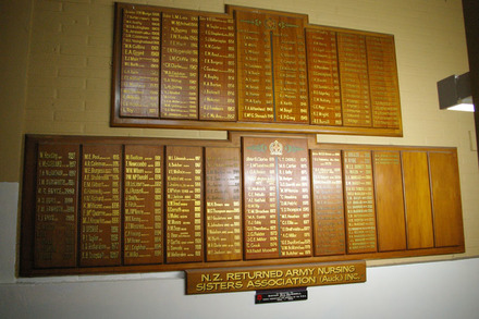 NZ Returned Army Nursing Sisters Assoc. (Ackl) honours board (photo J. Halpin April 2012) - No known copyright restrictions