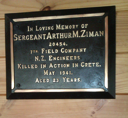 Memorial plaque, Waikumete Cemetery, Betolam, prayer house Arthur Myer Ziman (20454) (photo E. Jaffe 2012) - This image may be subject to copyright