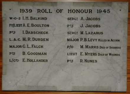 Roll of Honour, Jewish Community, Christchurch - This image may be subject to copyright