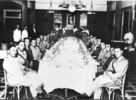 Group of 28 Maori Battalion Officers at dinner, Hotel St George, Beirut, 1930 hours, 5 June 1942. From left to right: Colonel Edward Te Whiti Love, Rev. Captain Takimoana Kahi Harawira, Lieutenant Paikea Henare Toka, Captain Robert Cecil Shaw-Thompson, Captain Kereti Pau Mariu, Lieutenant Henry Colton Arundel Lambert, Mr Charles Basil Bennet, Lieutenant William Vercoe, WO1 Allan Campbell Wood, DCM, Lieutenant George Tuoro Marsden, John Richard Ormsby, Second Lieutenant Ian Graeme Howden, Major Sydney Freyberg Jackson, Captain Waipaina Matehe Awarau, Major James Clendon Tau Henare, CBE, Lieutenant Hupa Hamiora, Captain James Tuhiwai, mid, Lieutenant Kuru Waaka, Lieutenant Edward Morgan, Lieutenant Colonel Arapeta Awatere, Captain James Matahere, Second Lieutenant John College Reedy, Duncan McCrae, Lieutenant Dr Ronald Alexander MacDonald, Colonel W.W.Johnston, Ben Porter, CSM Rangi France Logan, Second Lieutenant Ehai John Ropata, Jumbo Joseph, Second Lieutenant Kingi Areta Keiha, Lieutenant Colonel Frederick Baker DSO. - This image may be subject to copyright