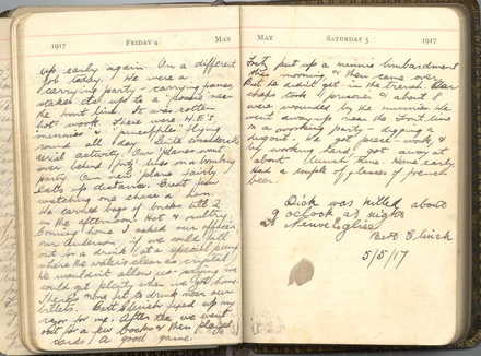 Ahier, William Roland. War diary, 1917, final entry dated 5 May 1917, made by Herbert Clinch, the day Dick was killed in action. - No known copyright restrictions